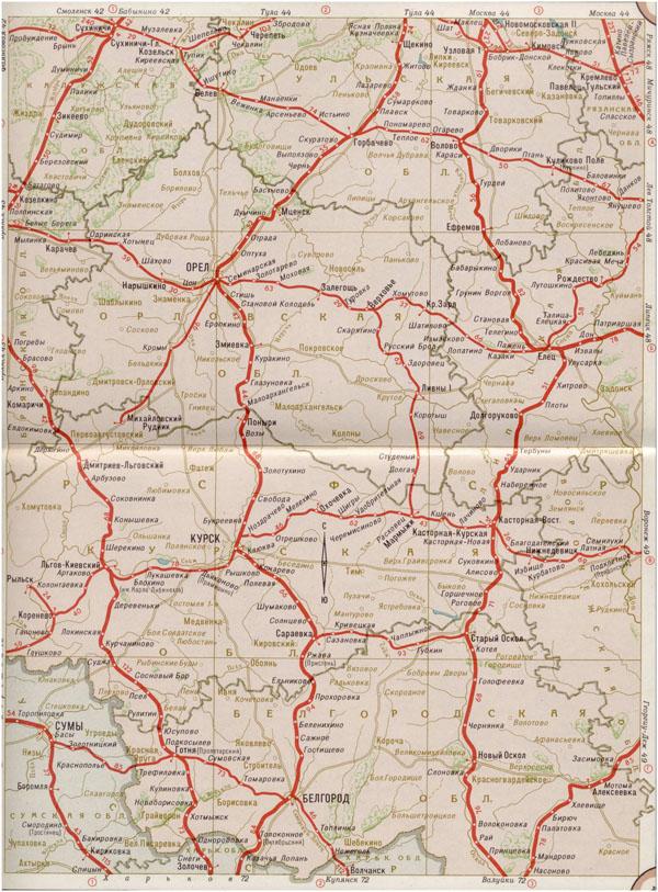 Карта железных дорог курской области