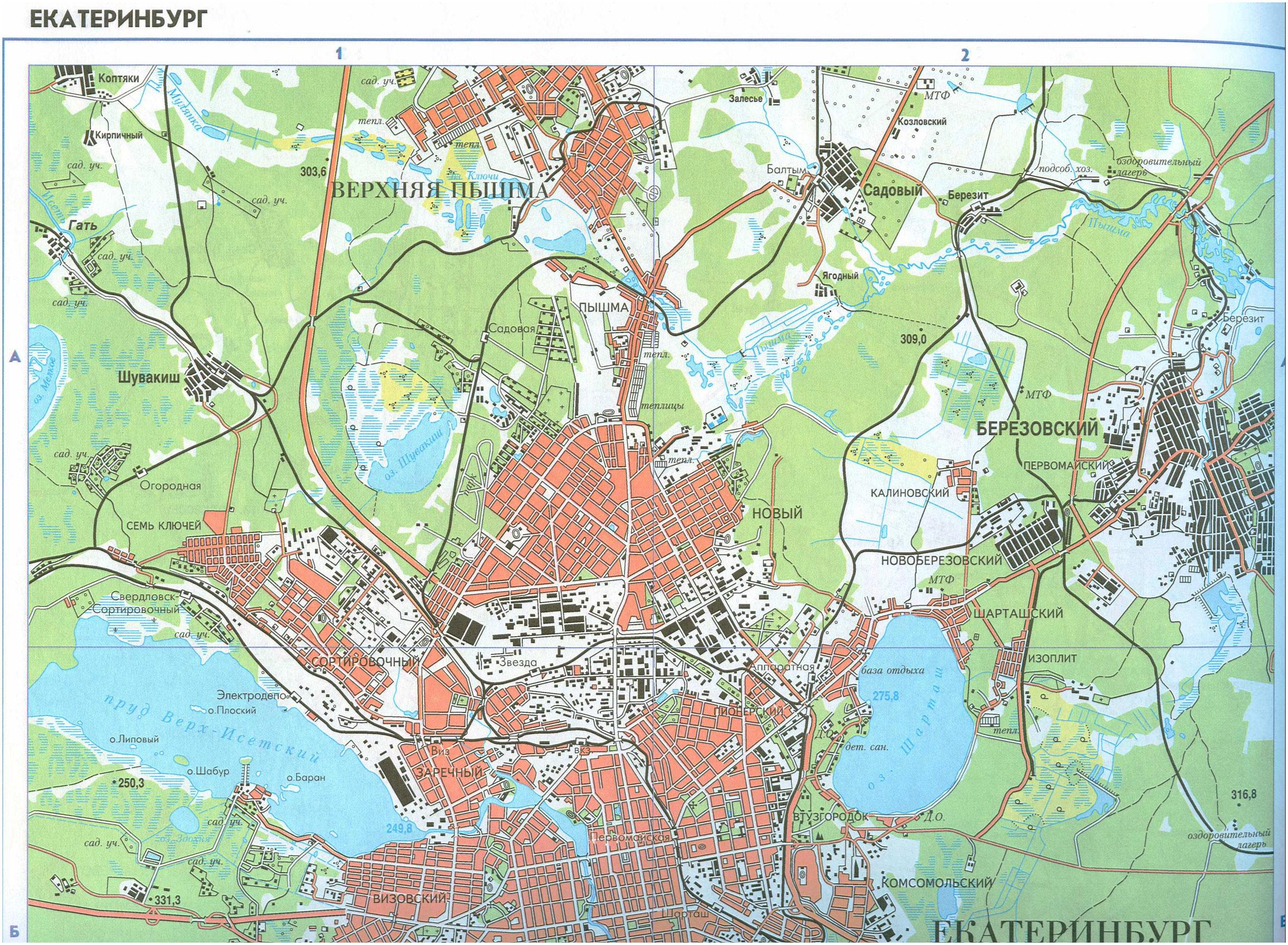Подробная карта схема г Екатеринбург с пригородами.