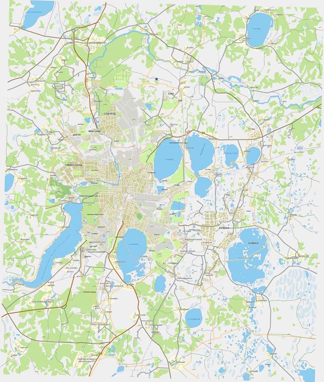 Карта районов Челябинска.  Дороги, пригороды и районы г. Челябинск. скачать бесплатно.