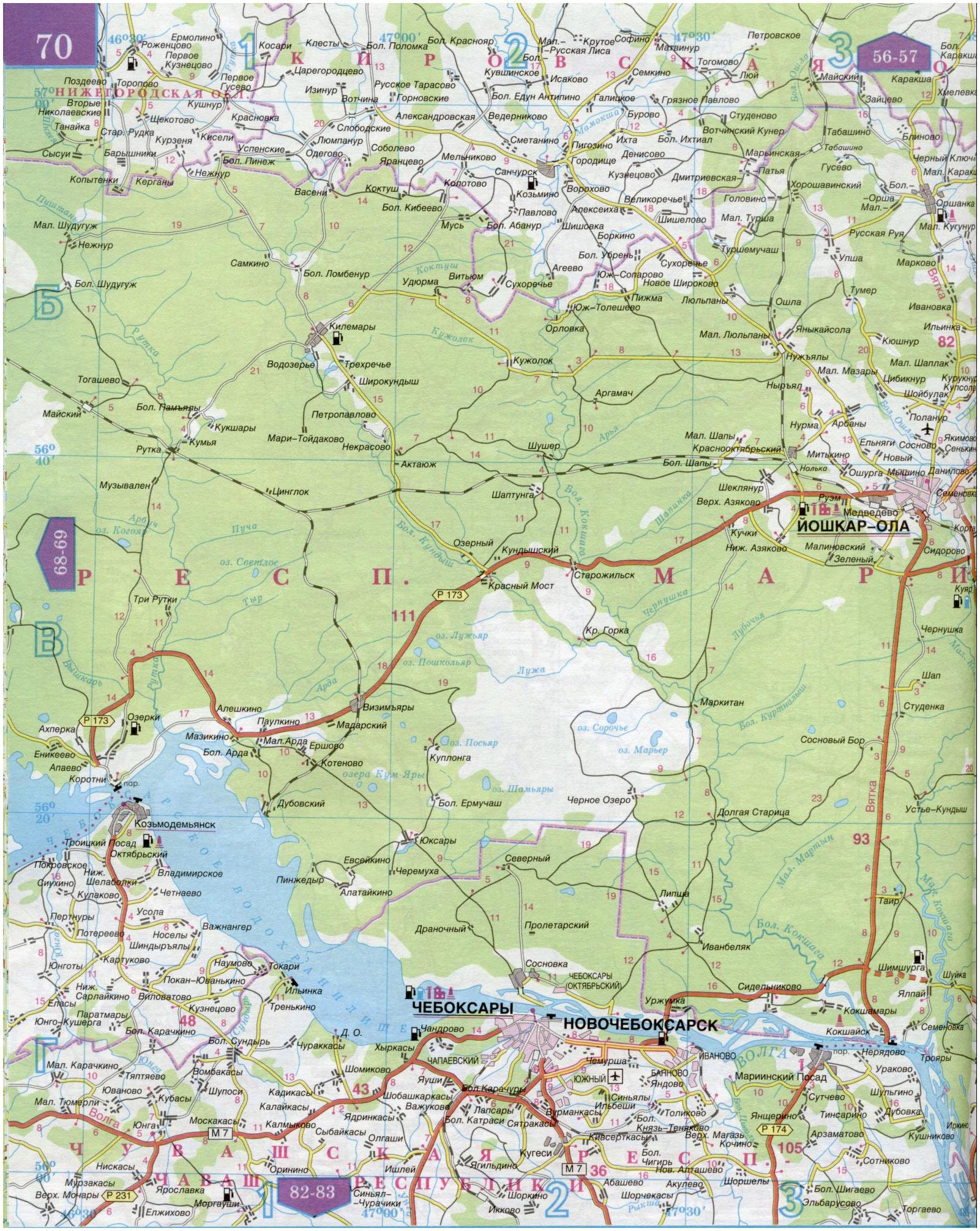 Карта республики марий эл 1см = 5км. карта автомобильных дор.