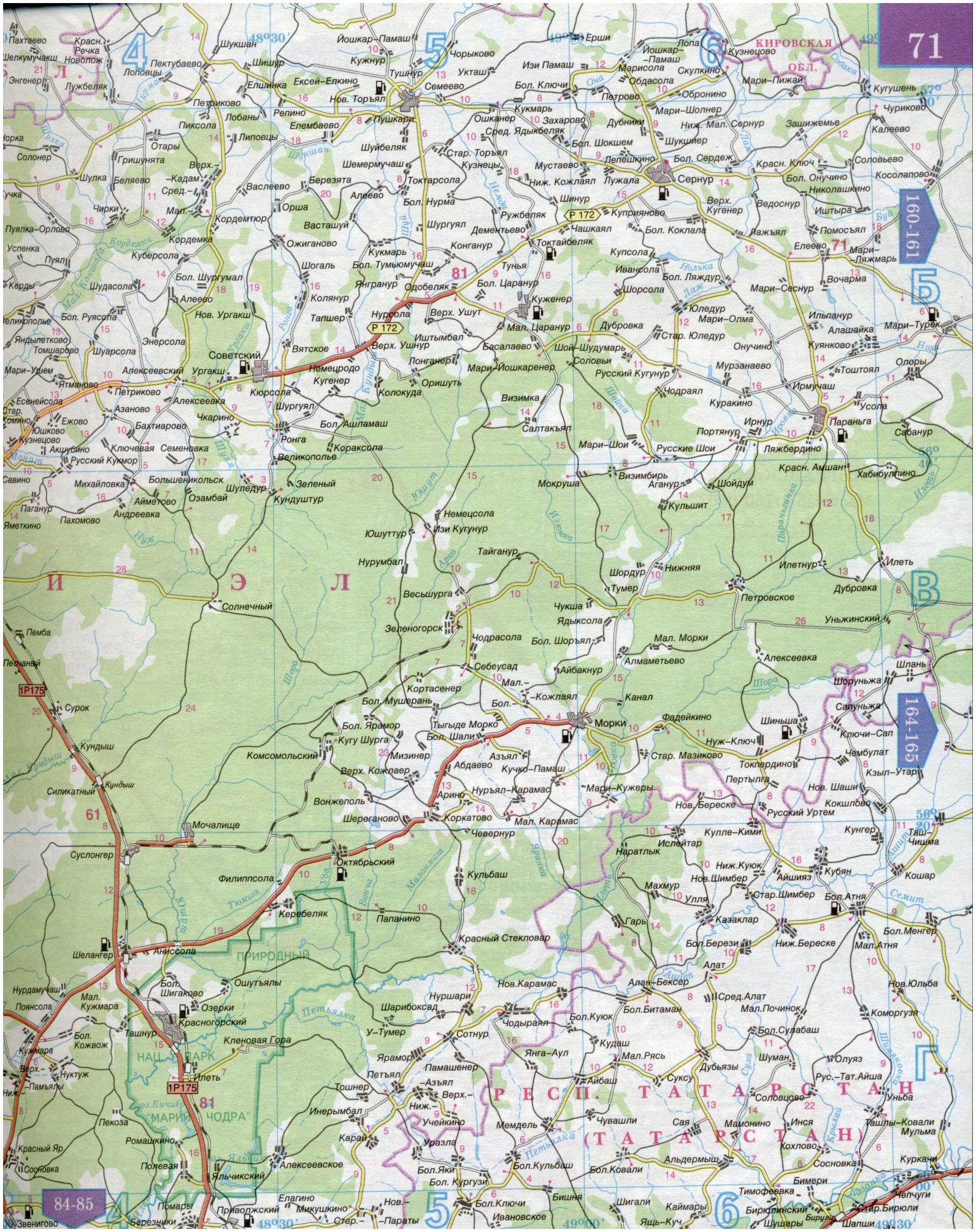 Карта автомобильных дорог - республика марий эл. карта респу.