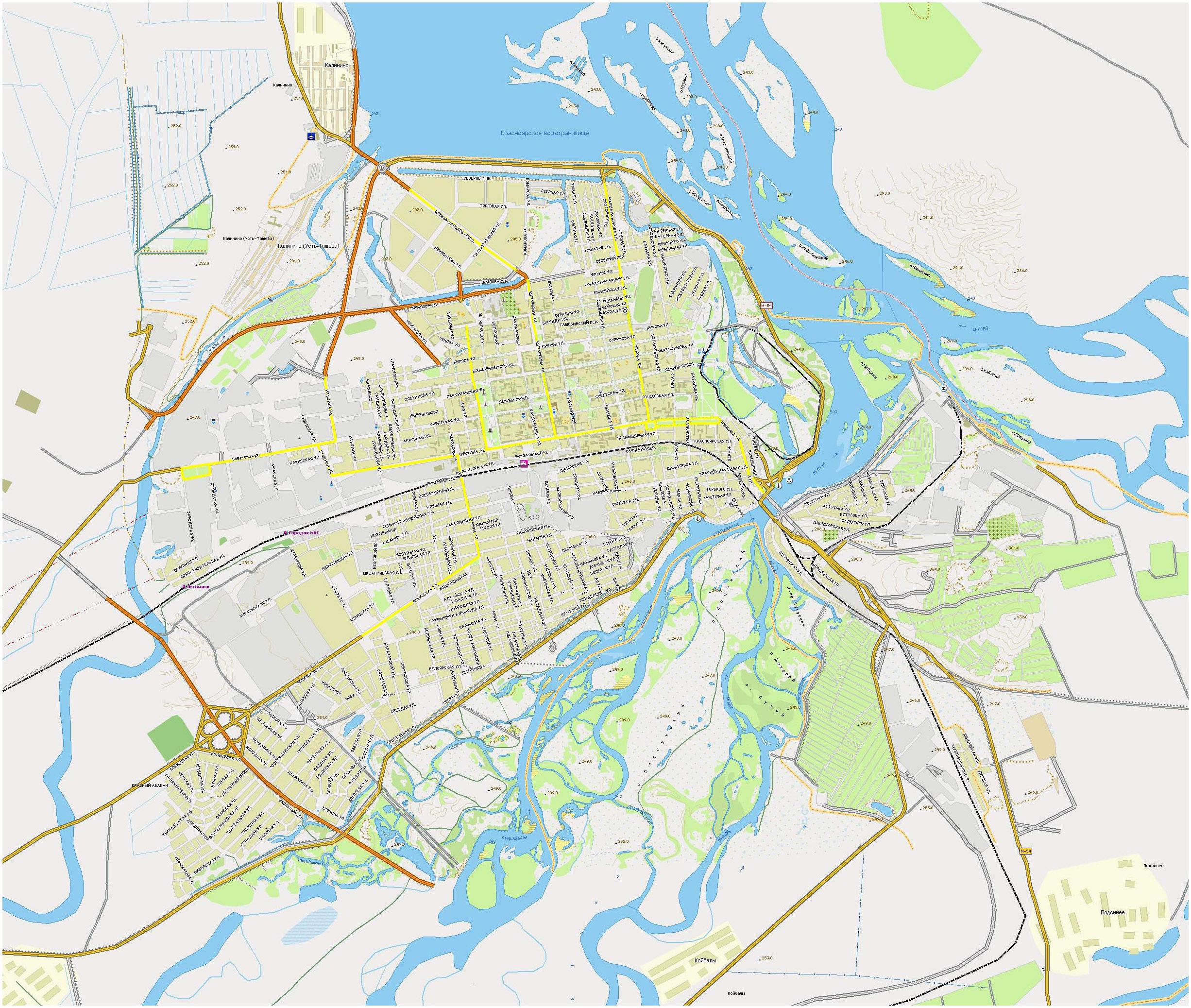 Хакасия карта города абакан с улицами